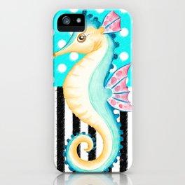 Seahorse Polka Teal iPhone Case