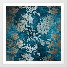 Aqua Teal Vintage Floral Damask Pattern Art Print