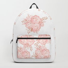 Roses Rose Gold Glitter Pink by Nature Magick Backpack