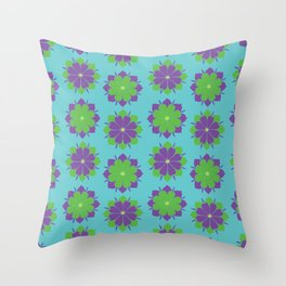 Purple + Green Power Flower Throw Pillow