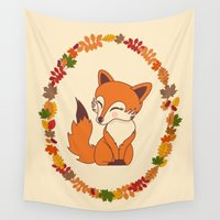 kawaii Wall Tapestries featuring Kawaii fox  by Pendientera