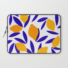 Blue and yellow Lemon Summery Pattern Laptop Sleeve