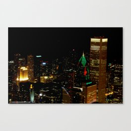 A Christmas Skyline in Chicago (Chicago Christmas/Holiday Collection) Canvas Print