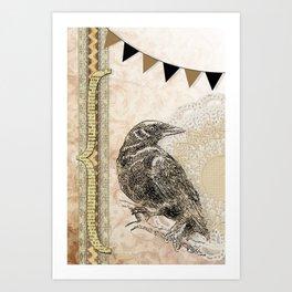 Crow, Brown Banner, Doily, Digital Design Art Print