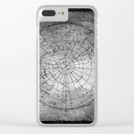 Old Metal Northern Constellation Map Clear iPhone Case
