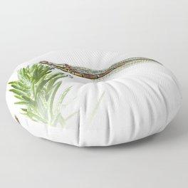 Damselfly resting on green plant Floor Pillow