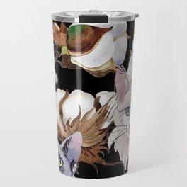 Cotton Flower & Cat Pattern on Black 01 Travel Mug
