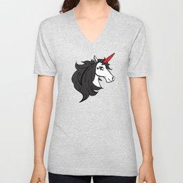 Emo Cartoon Gothic Unicorn Unisex V-Neck