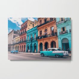 Vintage Cuban colorful building and cars Metal Print