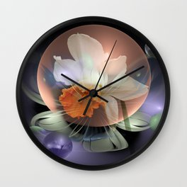 Daffodil in a fantasy droplet Wall Clock