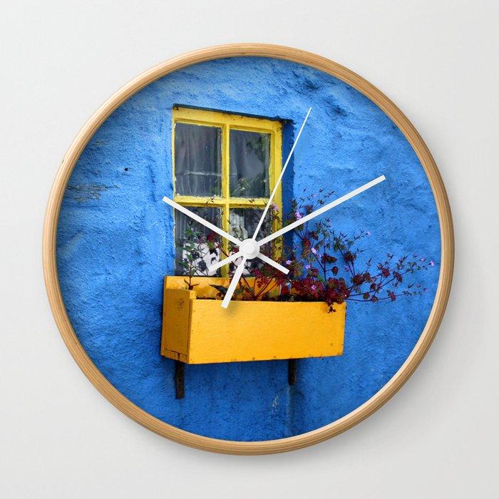 FLOWER - BOX - YELLOW - BLUE - WALL - PHOTOGRAPHY Wall Clock