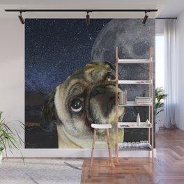 Pug and Moon Wall Mural