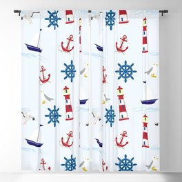Nautical Collage Blackout Curtain