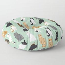 Cat breeds pattern kitty kittens cats tabby siamese white tortoiseshell Floor Pillow