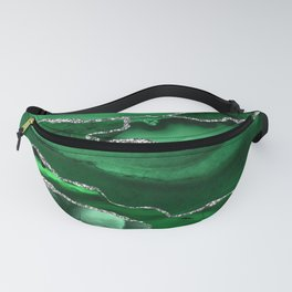 Glamour Emerald Bohemian Watercolor Marble With Silver Glitter Veins Fanny Pack