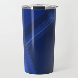Metallic strokes with chaotic indigo lines from intersecting glowing neon stripes. Travel Mug
