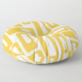 Retro Mid Century Modern Abstract Pattern 336 Mustard Yellow Floor Pillow