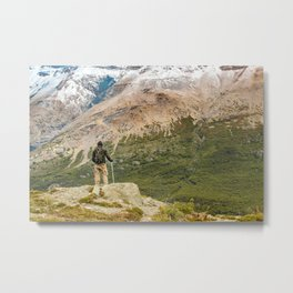 Man at Top of Andes Mountains, Patagonia - Argentina Metal Print