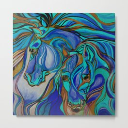 Wild Horses In Brown and Teal Metal Print