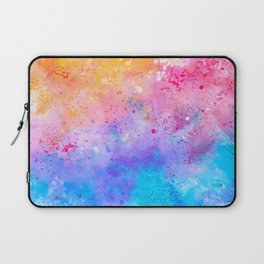 Abstract Watercolor Paint Pattern Texture #7 - Pink, Blue, Yellow Laptop Sleeve