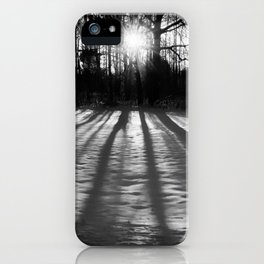 Winter Shadows from the Trees Rustic Black & White Landscape Photo iPhone Case