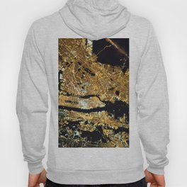 Space Station View of New York City at Night Photograph Hoody