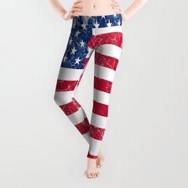 American Flag Established 1776 Vintage Print Leggings