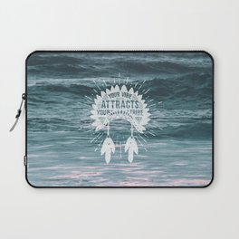 Your Vibe Attracts Your Tribe - Ocean Waves Laptop Sleeve