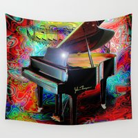 mandie manzano Wall Tapestries featuring Psychedelic Baby Grand by JT Digital Art