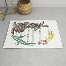 Spring Rabbit  (Jack rabbit and tulips on hymn) Rug