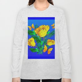 YELLOW BUTTERFLIES, ROSES, & BLUE OPTICAL ART Long Sleeve T-shirt