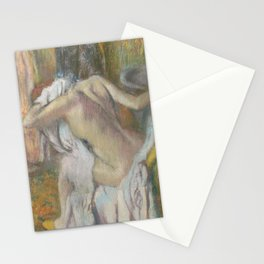 After the Bath, Woman drying herself Stationery Cards