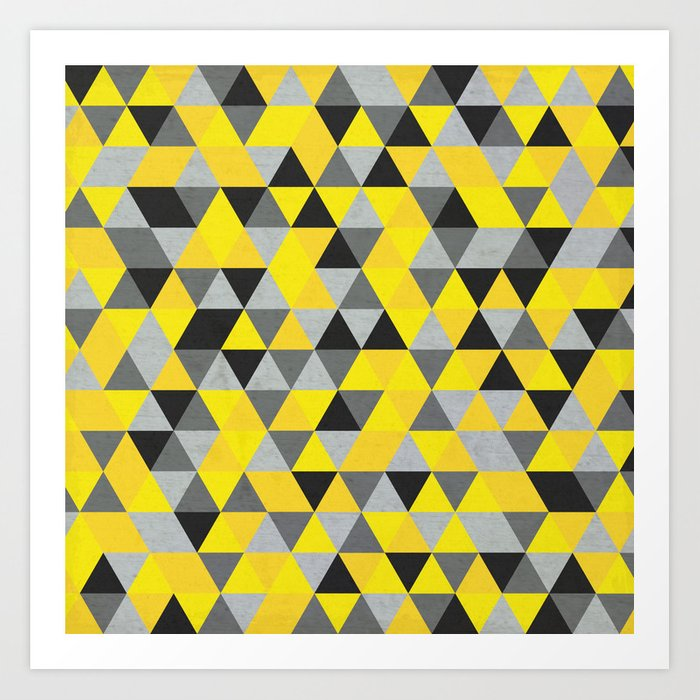 bf153f80f1f Sunny Yellow and Grey   Gray - Hipster Geometric Triangle Pattern Art Print  by pelaxy