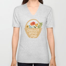 Collect Small Joys - Basket of Flowers Unisex V-Neck