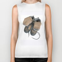hiking Biker Tanks featuring Hiking Boots by Ann Horn