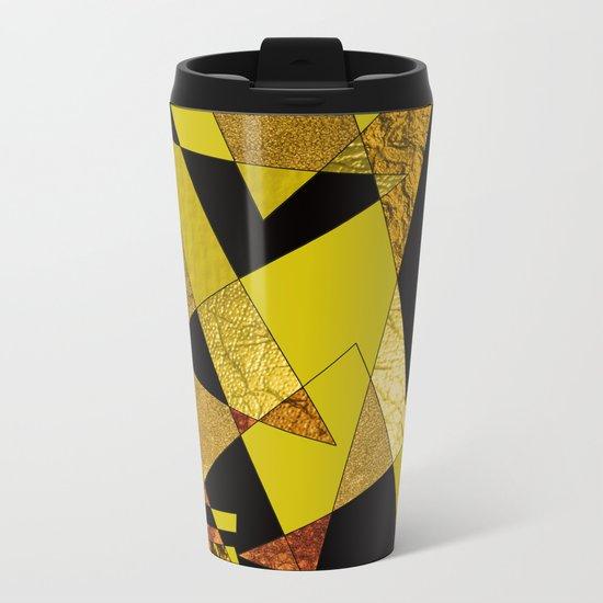 Abstract #508 Black, Gold & Copper Shards Metal Travel Mug