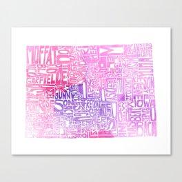Typographic Colorado - pink watercolor map Canvas Print