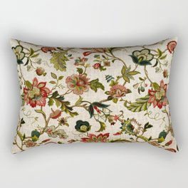 Red Green Jacobean Floral Embroidery Pattern Rectangular Pillow