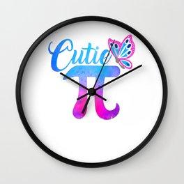 Cute & Funny Cutie Pi Math Pie Butterfly Wall Clock