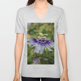 Purple Passiflora Unisex V-Neck