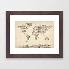 Old Sheet Music World Map Framed Art Print