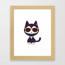 Cute kitten in sunglasses Framed Art Print