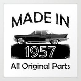 "Vintage Birthday Gifts ""Made 1957 All Original Parts"" Cadillac black car Art Print"