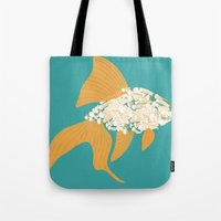 goldfish Tote Bags featuring Goldfish by Julia Kisselmann
