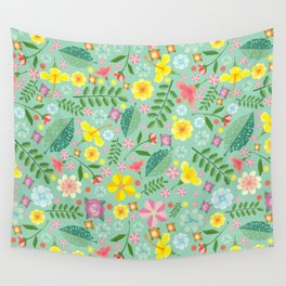 Colorful yellow pink green tropical floral pattern Wall Tapestry