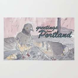 Portland Pigeons - Big Pink GREETINGS Rug