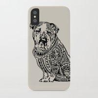 english bulldog iPhone & iPod Cases featuring Polynesian English Bulldog by Huebucket