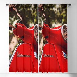 60s Classic Red Vespa Scooter (Motorcycle) - Italy's Most Famous Cultural Icons - Amazing Oil painting Blackout Curtain