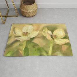 Double Dogwood Blossoms In Evening Light Rug