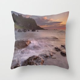 The Dunluce Castle in Northern Ireland at sunset Throw Pillow